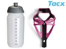 TACX Košík TACX Deva + Láhev Shiva 0,5l  (růžová/karbon)