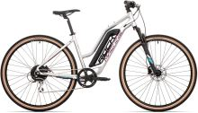 Elektrokolo Rock Machine Crossride e350 lady gloss silver/dark crimson/neon cyan (500Wh)