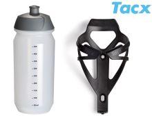 TACX Košík TACX Deva + Láhev Shiva 0,5l  (černá-matná/karbon)