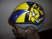 Přilba KED Harlekin modrá,žlutá-hvezdy vel. S (bez blikaček)