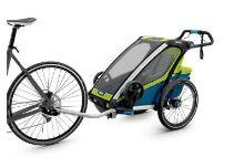 Vozík THULE CHARIOT CTS SPORT1 BLUE & GREEN 2017, odpružený, s cyklistickým a kočár. setem