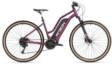 Elektrokolo Rock Machine Crossride e450 Lady mat dark crimson/silver/crimson (500Wh)